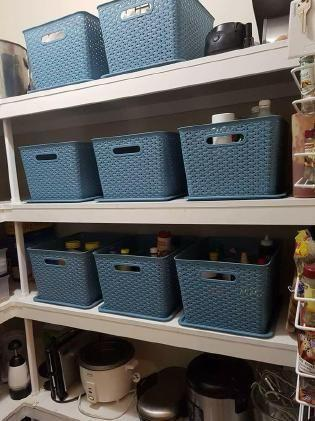 The mum-of-two showed off her before and after photos of her cupboard full of random tidbits before she bought baskets to make it all clean and tidy. Photo: Belinda Hampson