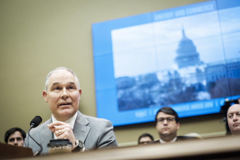 EPA Administrator Scott Pruitt testifies on Dec. 7before the House Energy and Commerce Committee. (Pete Marovich/Getty Images)