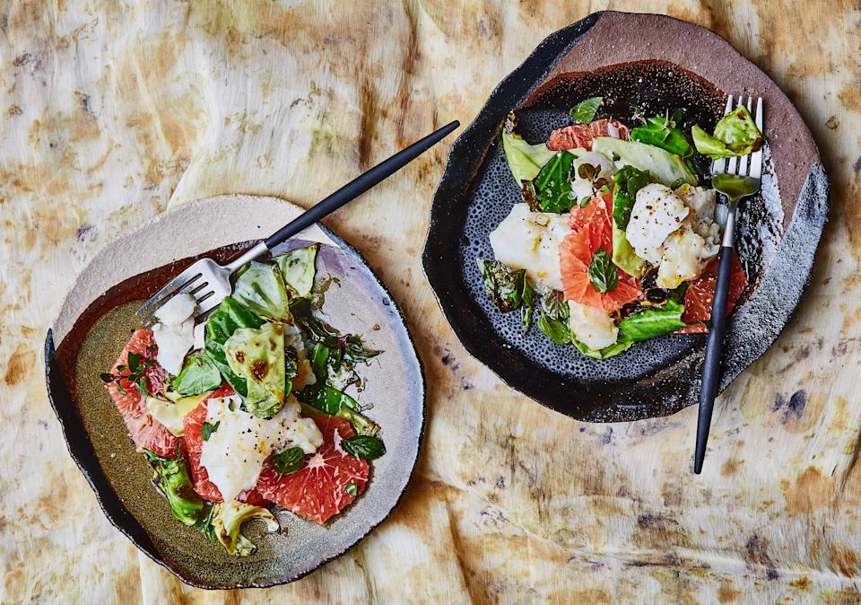 """Sometimes with cooking, the best thing you can do is leave a thing alone. In this case, let the cabbage leaves sit and get charred around the edges before you even think about tossing them in the pan. <a href=""""https://www.bonappetit.com/recipe/slow-cooked-white-fish-with-charred-cabbage?mbid=synd_yahoo_rss"""" rel=""""nofollow noopener"""" target=""""_blank"""" data-ylk=""""slk:See recipe."""" class=""""link rapid-noclick-resp"""">See recipe.</a>"""