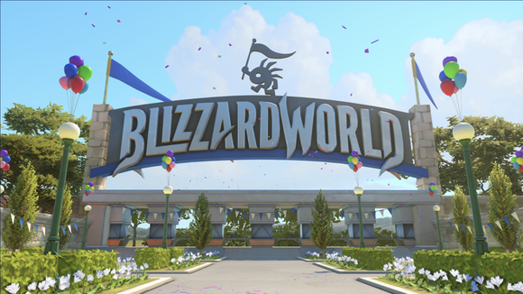 Screenshot from Overwatch video game of an entrance to a theme park with the title Blizzard World displayed.