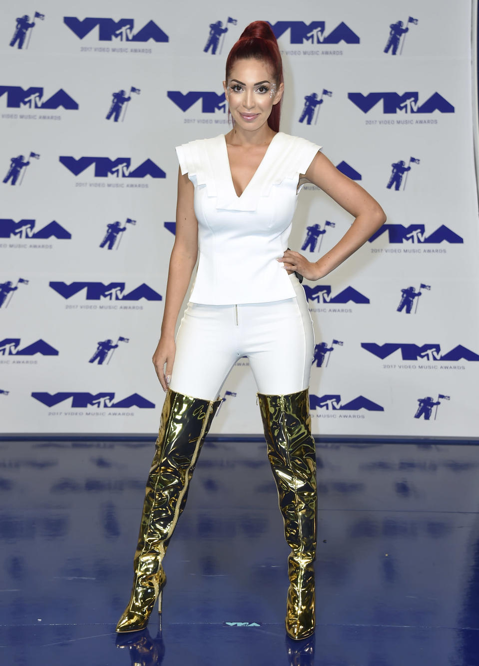 Farrah Abraham at the MTV Video Music Awards on Sunday, Aug. 27, 2017, in Inglewood, Calif. (Photo by Jordan Strauss/Invision/AP)