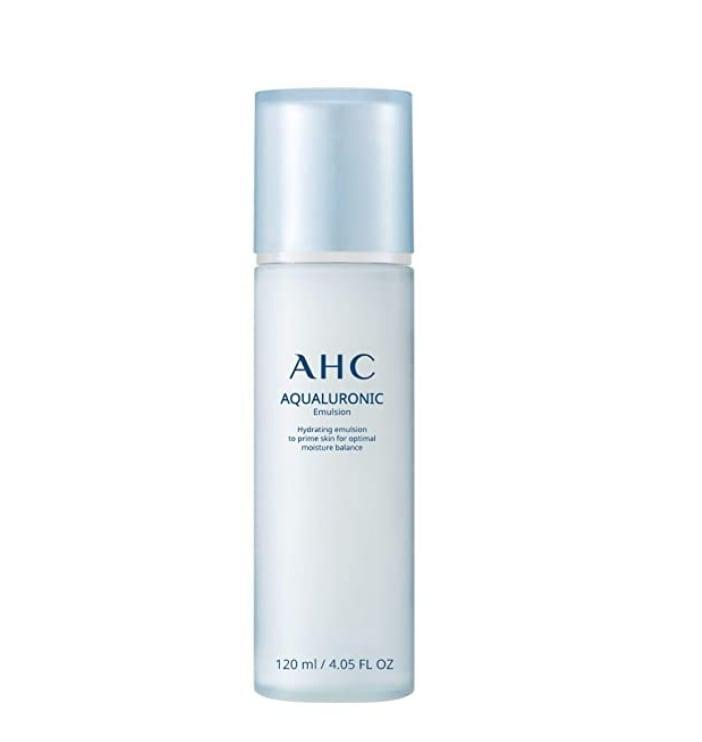 <p>The best way to describe how <span>AHC's Aqualuronic Emulsion</span> ($22) feels upon application is to say it felt like a moisturizing pillow for the face. Though creamy-textured like a moisturizer, it's more lightweight than most. Similar to toner, it serves as an aide in absorbing the forthcoming beauty products, and helps lock in moisture, which I obviously want.</p>