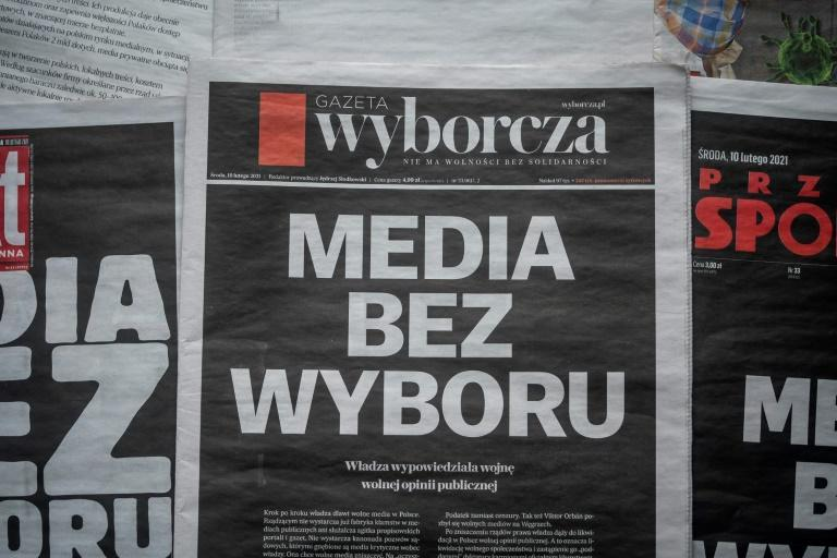 Polish daily newspaper Gazeta Wyborcza was among those displaying the message 'Media without choice (Media bez Wyboru)' on a black front page on Wednesday
