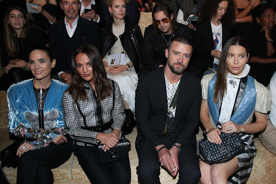 PARIS, FRANCE - OCTOBER 01: (L-R) Jennifer Connelly, Alicia Vikander, Justin Timberlake and Jessica Biel attend the Louis Vuitton Womenswear Spring/Summer 2020 show as part of Paris Fashion Week on October 01, 2019 in Paris, France. (Photo by Bertrand Rindoff Petroff/Getty Images)