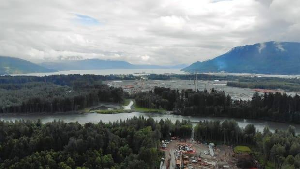 Coastal GasLink says the pipeline's trenchless water crossing on the Kitimat River was constructed by installing pipe directly under the waterway.