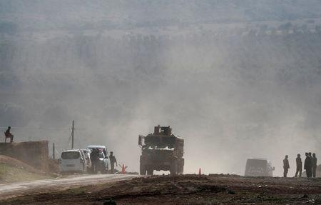 A Turkish Army vehicle leaves from a military post near the Turkish-Syrian border in Kilis province, Turkey January 31, 2018. REUTERS/Osman Orsal