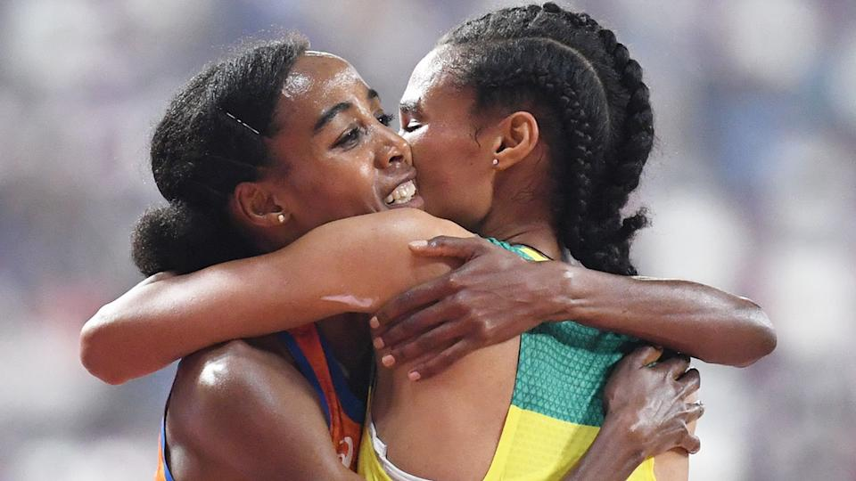 Netherlands runner Sifan Hassan's 10,000m world record stood for two days before Ethiopia's Letesenbet Gidey (R) broke it. Pic: Getty