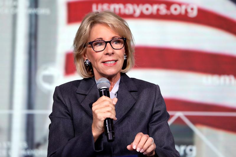 "U.S. Education Secretary Betsy DeVos is scheduled to visit a Roman Catholic elementary school Thursday in Harrisburg, Pennsylvania. The school is part of the Catholic Diocese of Harrisburg, which has policies addressing students and staff experiencing ""gender identity questions."" (Photo: Yuri Gripas / Reuters)"