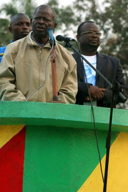 Bernard Kolelas, left, gives a speech in 2007 to support his son Guy-Brice Parfait Kolelas, a candidate in the legislative elections that year