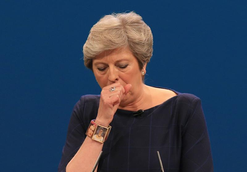<strong>Theresa May struggled to complete her conference speech, as it was disrupted by a prankster and she suffered from a cold</strong> (PA Wire/PA Images)