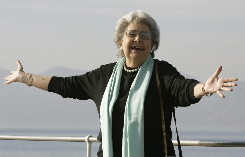 FILE - Retired German-born mezzo-soprano Christa Ludwig poses during the 42nd MIDEM (International record music publishing and video music market) in Cannes, southern France, on Jan. 28, 2008. Ludwig, a renowned interpreter of Wagner, Mozart and Strauss who starred the world's great stages for four decades, died Saturday her home in Klosterneuburg, Austria. She was 94. Her death was announced by the Vienna State Opera. (AP Photo/Lionel Cironneau, File)