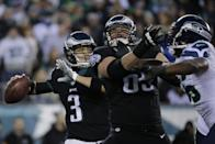 Philadelphia Eagles' Mark Sanchez passes during the first half of an NFL football game against the Seattle Seahawks, Sunday, Dec. 7, 2014, in Philadelphia. (AP Photo/Michael Perez)