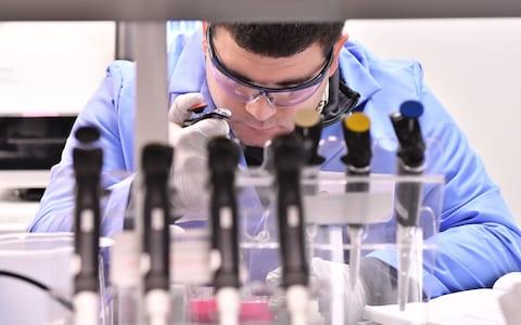 CAMBRIDGE, MA - OCTOBER 26: Research Scientist Edgardo Lopez at Claritas prepares samples to be fed into the company's array of genomic sequencers which is the largest of it's kind in North America. The machines can perform 185 million sequencing reactions in parallel, allowing Claritas and partner company WuXi NextCODE, to search a patient's entire genome for disease causing mutations.