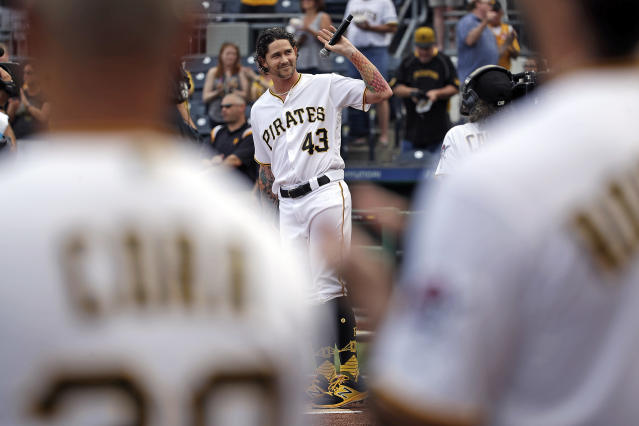 "<a class=""link rapid-noclick-resp"" href=""/mlb/teams/pit"" data-ylk=""slk:Pittsburgh Pirates"">Pittsburgh Pirates</a> relief pitcher <a class=""link rapid-noclick-resp"" href=""/mlb/players/10334/"" data-ylk=""slk:Steven Brault"">Steven Brault</a> (43) waves to fans after singing the National Anthem before a baseball game against the <a class=""link rapid-noclick-resp"" href=""/mlb/teams/mil"" data-ylk=""slk:Milwaukee Brewers"">Milwaukee Brewers</a> in Pittsburgh, Tuesday, June 19, 2018. (AP Photo/Gene J. Puskar)"