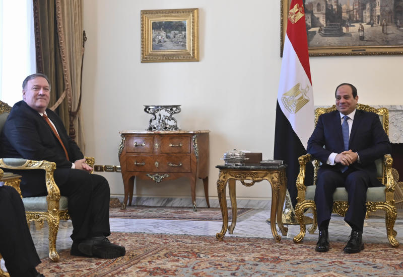 U.S. Secretary of State Mike Pompeo, left, meets with Egyptian President Abdel-Fattah el-Sissi in Cairo, Thursday, Jan. 10, 2019. Pompeo is in Cairo for talks with Egyptian leaders as he continues a nine-nation Middle East tour aimed at reassuring America's Arab partners that the Trump administration is not walking away from the region. (Andrew Caballero-Reynolds/Pool Photo via AP)