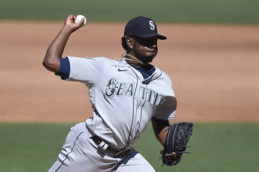 Seattle Mariners starting pitcher Justin Dunn delivers during the fifth inning of a baseball game against the San Diego Padres Sunday, Sept. 20, 2020, in San Diego. (AP Photo/Denis Poroy)