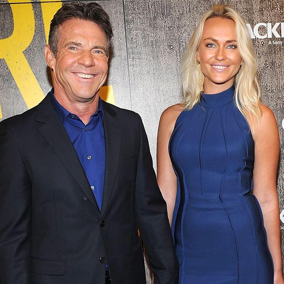 """<p><strong>Age gap: </strong>32 years </p><p>Santa is 32 years younger than Dennis, but the couple doesn't seem to mind. They've been together since 2016, reports <a href=""""https://people.com/movies/dennis-quaid-celebrates-one-year-anniversary-with-girlfriend-santa-auzina/"""" rel=""""nofollow noopener"""" target=""""_blank"""" data-ylk=""""slk:People"""" class=""""link rapid-noclick-resp"""">People</a>, and aren't shy about posting adorable <a href=""""https://www.instagram.com/p/BV_Y9etBmE5/?utm_source=ig_embed"""" rel=""""nofollow noopener"""" target=""""_blank"""" data-ylk=""""slk:Instas"""" class=""""link rapid-noclick-resp"""">Instas</a> from their vacations together. </p>"""