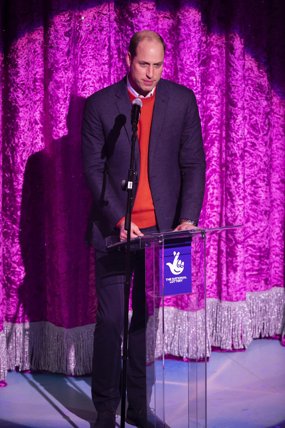 The Duke of Cambridge gives a speech on stage as he attends a special pantomime performance at London's Palladium Theatre, hosted by The National Lottery, to thank key workers and their families for their efforts throughout the pandemic.