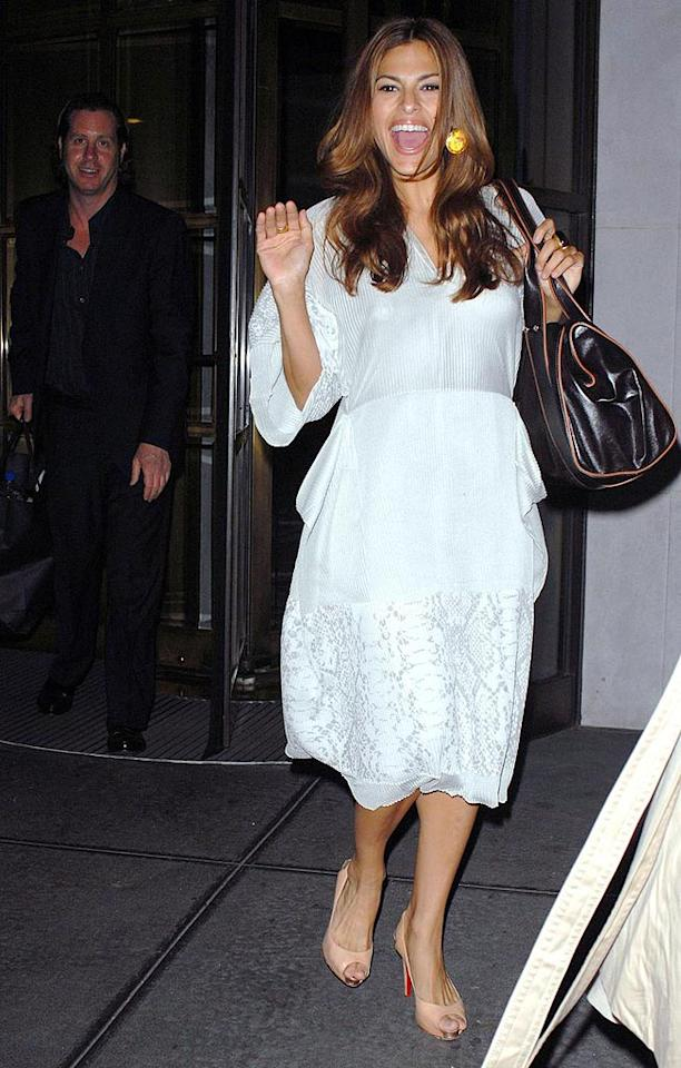 "Eva Mendes' white dress contrasts beautifully with her dark features. Edward Opinaldo/<a href=""http://www.pacificcoastnews.com/"" target=""new"">PacificCoastNews.com</a> - June 4, 2008"