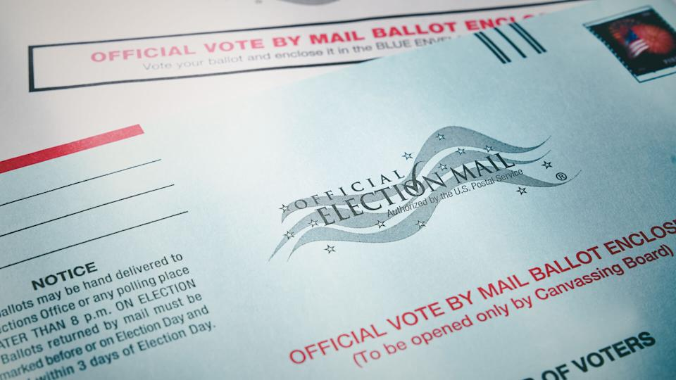 THE SEA RANCH, CALIFORNIA - October 21, 2018: Voting ballot: Absentee voting by mail with ballot envelope.