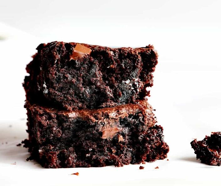 """<strong>Get the <a href=""""https://iambaker.net/zucchini-brownies/"""" rel=""""nofollow noopener"""" target=""""_blank"""" data-ylk=""""slk:Zucchini Brownies"""" class=""""link rapid-noclick-resp"""">Zucchini Brownies</a> recipe from I Am Baker.</strong>"""