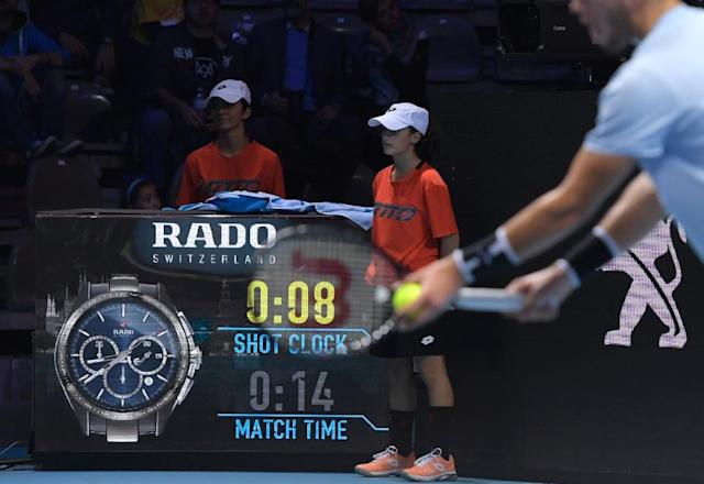 Beat the clock: The 'shot clock' was trialled at the 'NextGen' finals in Milan last year (AFP Photo/MIGUEL MEDINA)