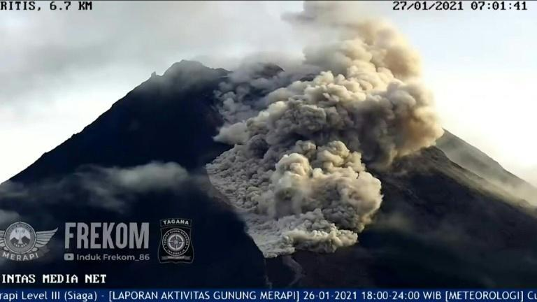 Indonesia's Mount Merapi, one of the world's most active volcanoes, erupts, belching out huge clouds of smoke and ash that billow down the sides of its rumbling crater