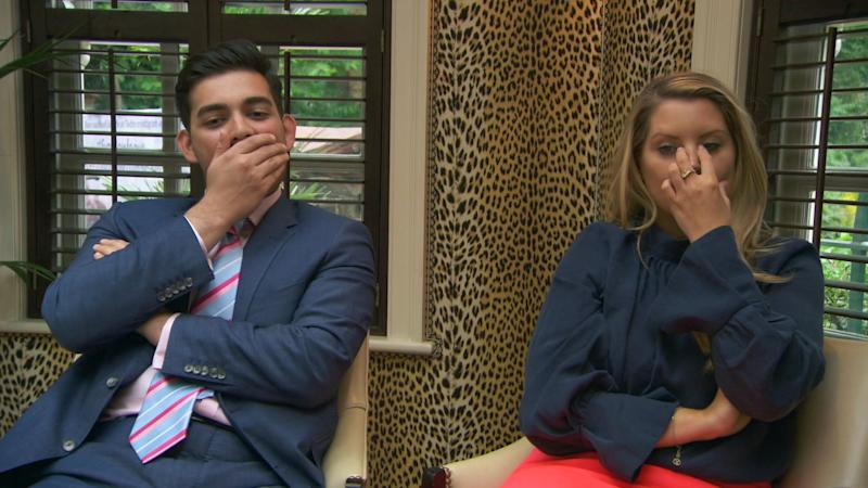 Dean and Pamela shocked at the team's branding reveal for the perfume task (BBC / Boundless)