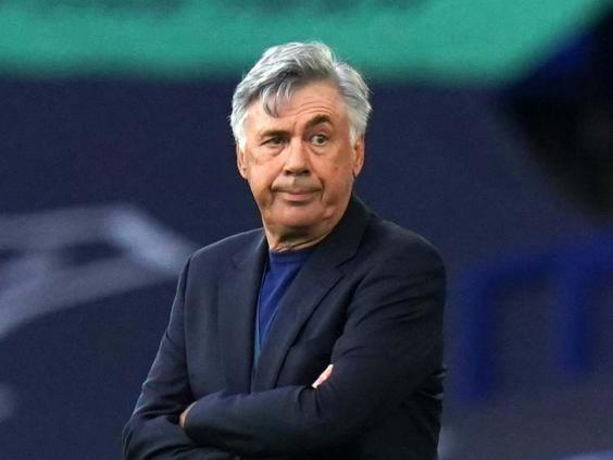 Carlo Ancelotti looks on from the touchline at Goodison Park (PA)