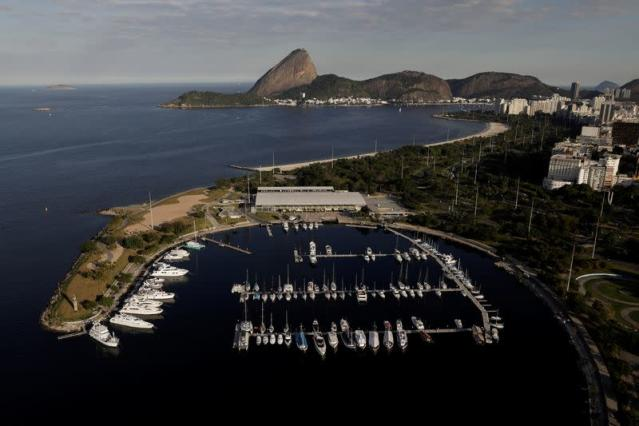 An aerial view shows the Marina da Gloria, which was the sailing venue at the 2016 Rio Olympics, in Rio de Janeiro