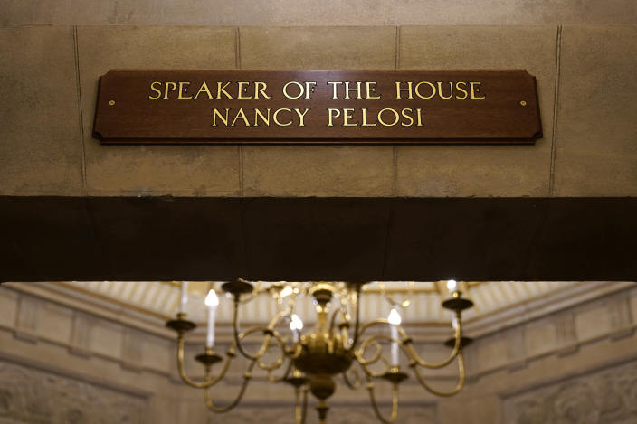 FILE - In this Jan.18, 2021 file photo, a view of the new sign marking the office for House Speaker Nancy Pelosi of Calif., from inside the U.S. Capitol in Washington. The new sign replaces the one that was destroyed when rioters stormed the Capitol. The Justice Department's massive prosecution of those who stormed the U.S. Capitol on Jan. 6 has not been without its problems, including a potential instance of mistaken identity. (AP Photo/Susan Walsh)