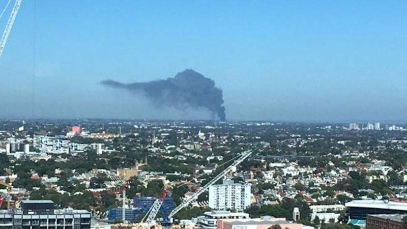 Smoke from the blaze could be seen from the other side of Sydney's CBD. Source: Twitter