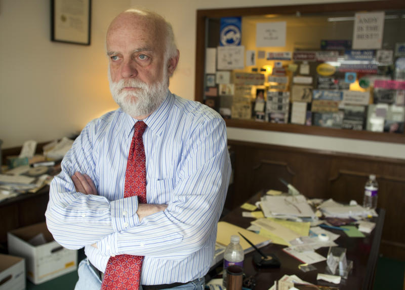 Attorney W. Andrew McCullough in his office Friday, May 20, 2011, in Midvale, Utah. McCullough is suing Salt Lake City police Chief Chris Burbank and the Utah Attorneys General's Office over amendments to the state's sexual solicitation law (AP Photo/Jim Urquhart)