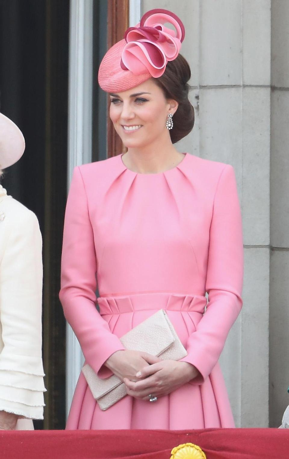 In an unsurprising move, the Duchess of Cambridge looked to Alexander McQueen for her most recent appearance on the Buckingham Palace balcony. (Getty Images)