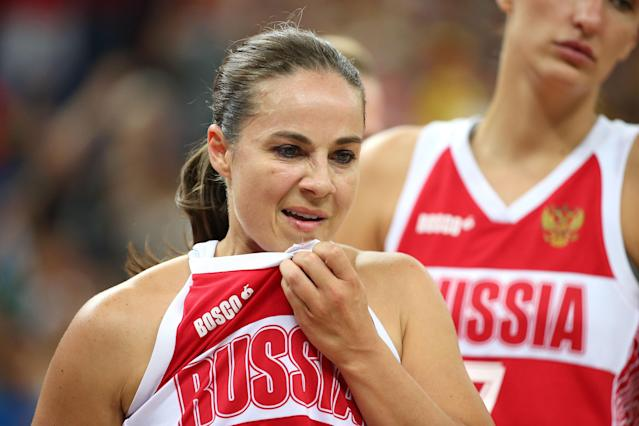 LONDON, ENGLAND - AUGUST 11: Becky Hammon #9 of Russia reacts dejected after they lost 83-74 against Australia during the Women's Basketball Bronze Medal game on Day 15 of the London 2012 Olympic Games at North Greenwich Arena on August 11, 2012 in London, England. (Photo by Christian Petersen/Getty Images)