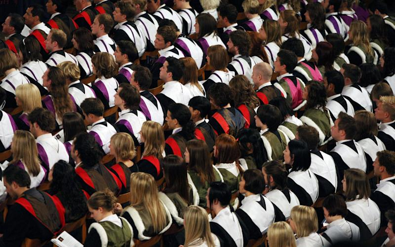 Students at a university graduation ceremony. - Credit: PA Wire