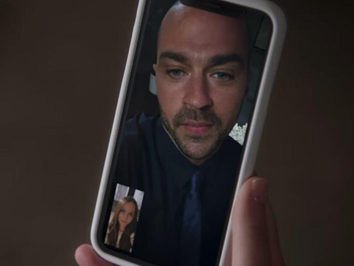 Jackson Avery on a video call on a phone with Jo in the corner on Greys Anatomy