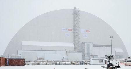 A general view shows a New Safe Confinement (NSC) structure over the old sarcophagus covering the damaged fourth reactor at the Chernobyl nuclear power plant, in Chernobyl, Ukraine November 29, 2016. REUTERS/Gleb Garanich
