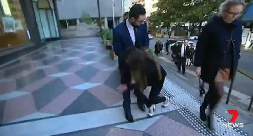 His sister, Fatima Mehajer, tripped over on her way into the courthouse on Friday morning. Source: 7 News