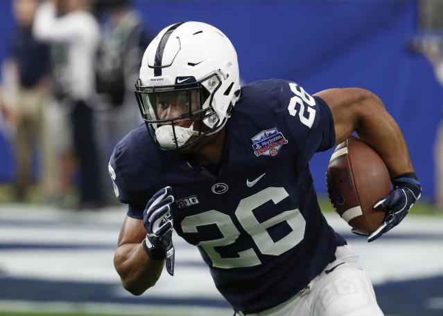 Penn State running back Saquon Barkley picked Roc Nation Sports as his agent. (AP)