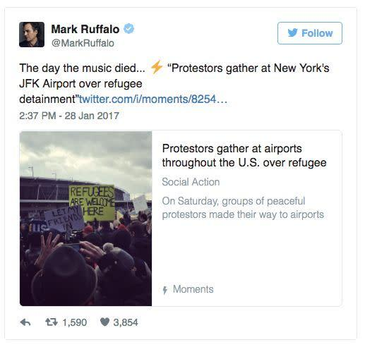 Mark Ruffalo shared on social media what he really thought about the immigration ban.
