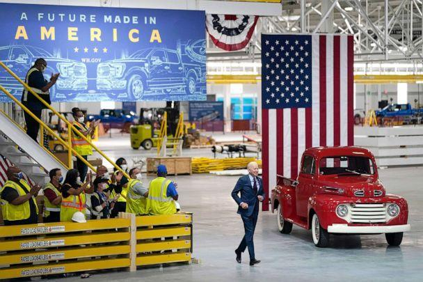 PHOTO: President Joe Biden arrives to speak after a tour of the Ford Rouge EV Center,  May 18, 2021, in Dearborn, Mich.  (Evan Vucci/AP)