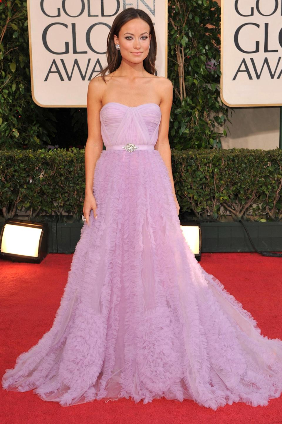 """<strong><h2>2009</h2></strong><br>Admittedly, lavender in January seems more 2018 than 2009, but when it's Olivia Wilde underneath this Reem Acra gown, all bets are off.<br><br><em>Olivia Wilde in Reem Acra.</em><span class=""""copyright"""">Photo: Steve Granitz/WireImage.</span>"""