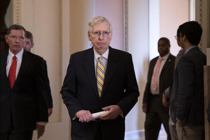 Senate Majority Leader Mitch McConnell, R-Ky., joined at left by Sen. John Barrasso, R-Wyo., at the Capitol last month. (Photo: J. Scott Applewhite/AP)