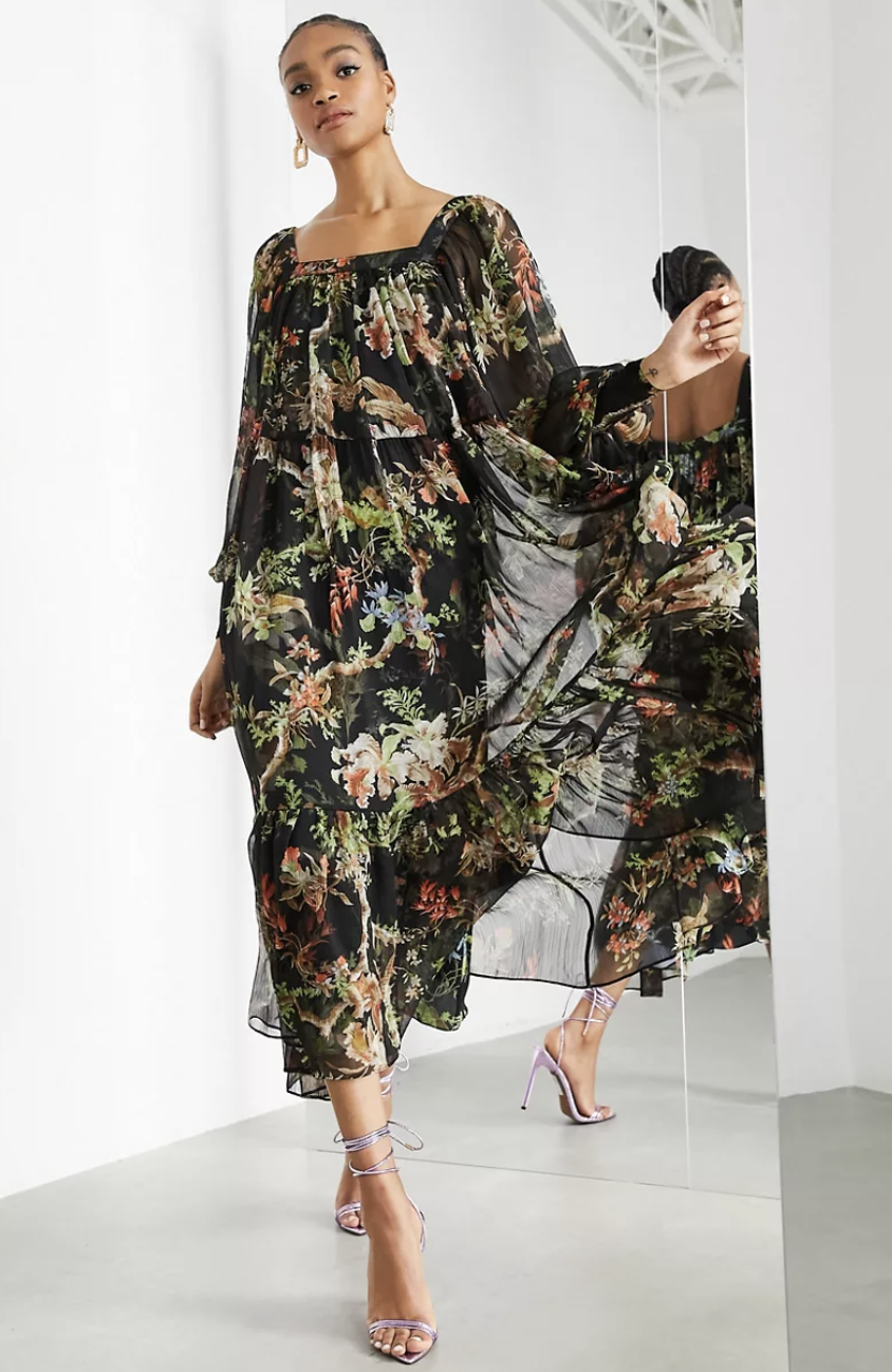 Fall wedding guest dresses: ASOS Edition Oversized Maxi Dress with Square Neck in Woodland Print (Photo via ASOS)