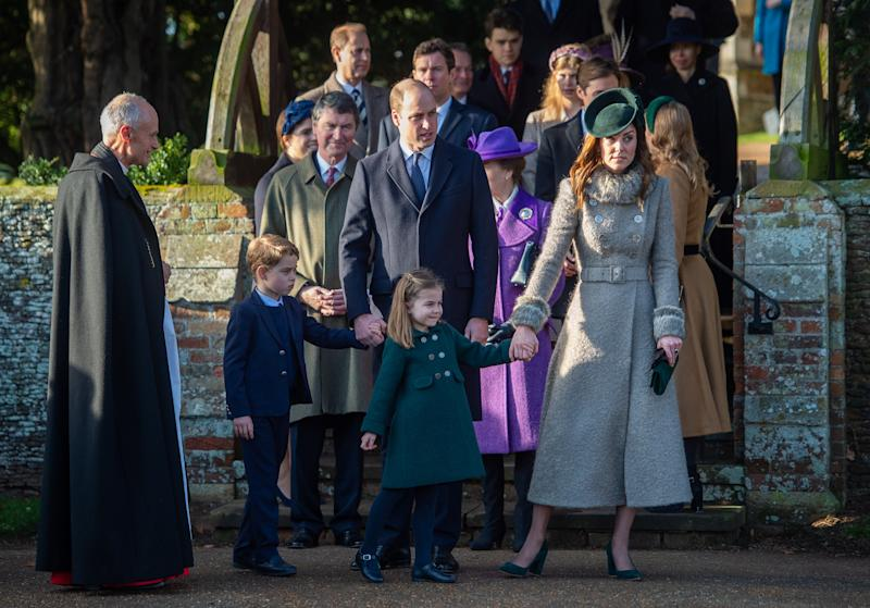 The Duke and Duchess of Cambridge with Prince George and Princess Charlotte after attending the Christmas Day morning church service at St Mary Magdalene Church in Sandringham, Norfolk. (Photo by Joe Giddens/PA Images via Getty Images)