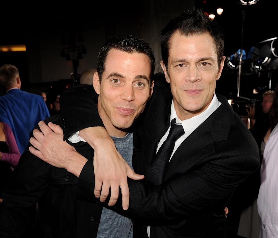 "LOS ANGELES, CA - OCTOBER 13:  Actors Steve O (L) and Johnny Knoxville arrive at the premiere of Paramount Pictures and MTV Films' ""Jackass 3D"" at the Chinese Theater on October 13, 2010 in Los Angeles, California.  (Photo by Kevin Winter/Getty Images)"