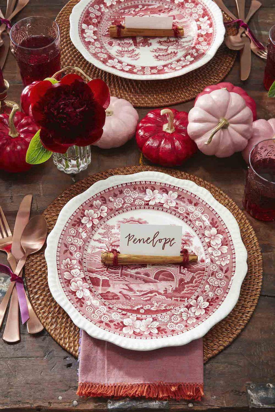 """<p>Create an unexpected color story with painted pumpkins that match your dinnerware and table linens. This magenta, red, and pink color combo makes for a perfectly feminine fall vibe.</p><p><a class=""""link rapid-noclick-resp"""" href=""""https://www.amazon.com/Acrylic-Acrylia-Supplies-Beginners-Painting/dp/B07VSH224W/?tag=syn-yahoo-20&ascsubtag=%5Bartid%7C10050.g.3739%5Bsrc%7Cyahoo-us"""" rel=""""nofollow noopener"""" target=""""_blank"""" data-ylk=""""slk:SHOP ACRYLIC PAINT"""">SHOP ACRYLIC PAINT</a></p>"""