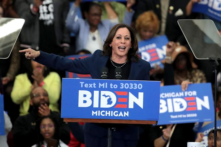 Kamala Harris introduces Joe Biden at a rally in Detroit on March 9. (Scott Olson/Getty Images)