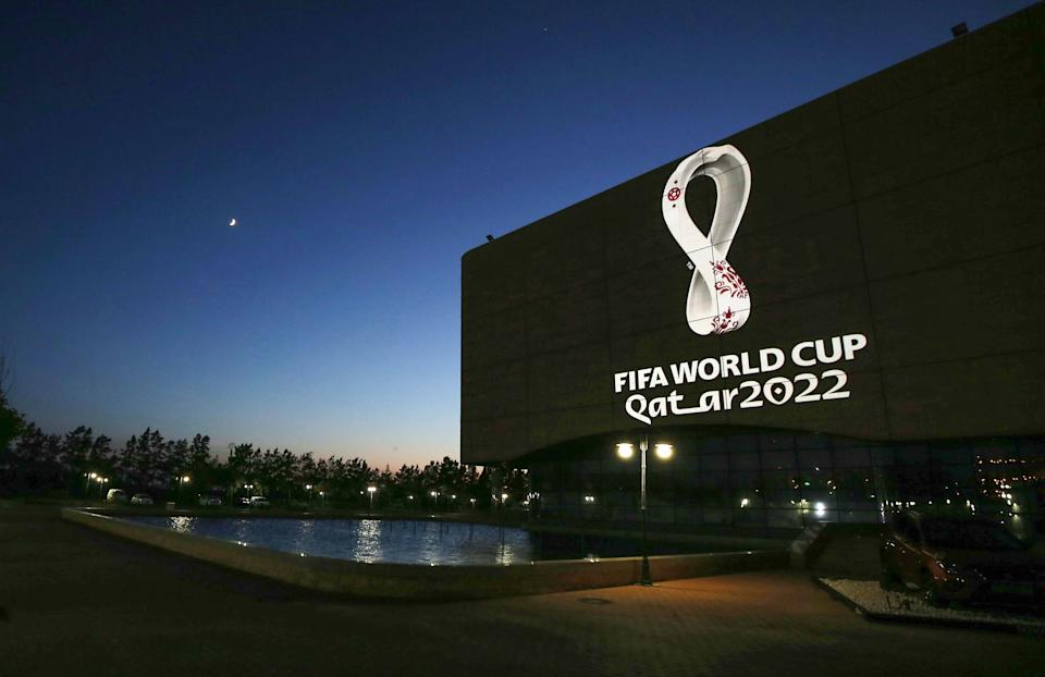 The Fifa World Cup Qatar 2022 logo is projected on the facade of the Algiers Opera House in the Algerian capital on September 3, 2019. (Photo by - / AFP)        (Photo credit should read -/AFP via Getty Images)